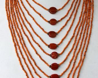 Long Orange Layered Beaded Necklace