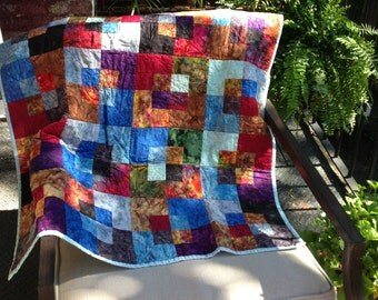 Colorful Hand Quilted Baby Blanket with Unique Multicolor Square on Square Design