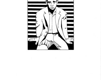 Original Pen and Ink Digital Drawing Film Noir Gangster
