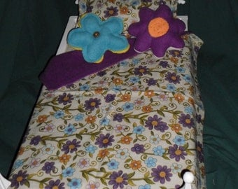 Purple and Blue Flowered bedding for 18 inch or American Girl Doll Bed