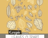 SALE 50% Leaves clipart: Digital leaves clipart pack for scrapbooking, card making, invites