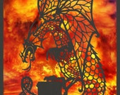 Greeting Card x 4: Fantasy Dragon, A5 size. High quality print of OOAK handmade, hand painted paper cut from original 3D drawing or artwork. - NineFingerJo