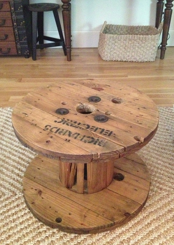 cable spool coffee tablereserved for holly by. Black Bedroom Furniture Sets. Home Design Ideas