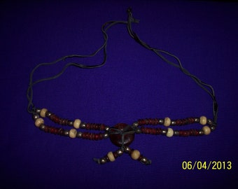 Vintage India Fashion Necklace with Red and Neutral Colored Beads #152