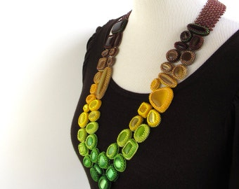 """Brown to Green Ombre Effect """"Fade Out"""" Beaded Necklace with Matching Earrings"""