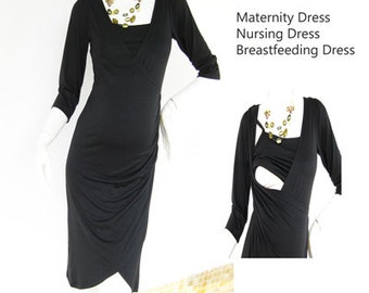 Maternity Dresses / Nursing Dress / Breastfeeding Dresses / NEW Black Kelly/ Nursing Clothes / Pregnancy / Maternity Clothes