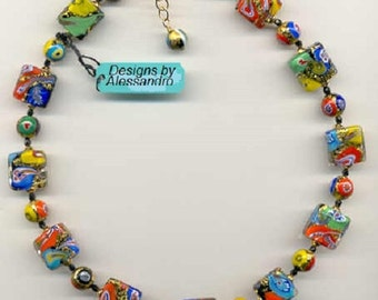 """Murano Venetian Glass Klimt Bead Necklace with """"Klimt's"""" Square and Round Millefiori and 24 Karat Gold Foil."""