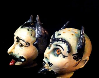 Baalberith and Belphegor Satanic Head ShaKers...handmade OOAK ceramic mini Devil salt and pepper spice shaker dolls pottery cake to