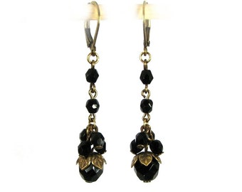 Edwardian Style Drop Earrings with French Jet Cluster in Brass
