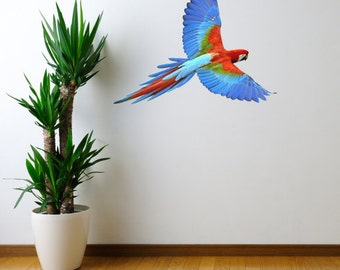 Life Size Macaw in Flight Wall Decal