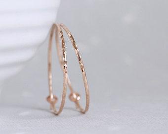 Flint Hoops - 14K ROSE goldfilled hoop earrings hammered facets