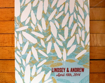 Personalized Wedding Guest Book Poster-Light Blue, Chartreuse, Aqua and Red