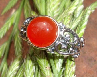 Ring - Queen Boudica - Carnelian set in eco-friendly sterling silver - Custom Made in your Size -Bright flame red orange,  courage strong