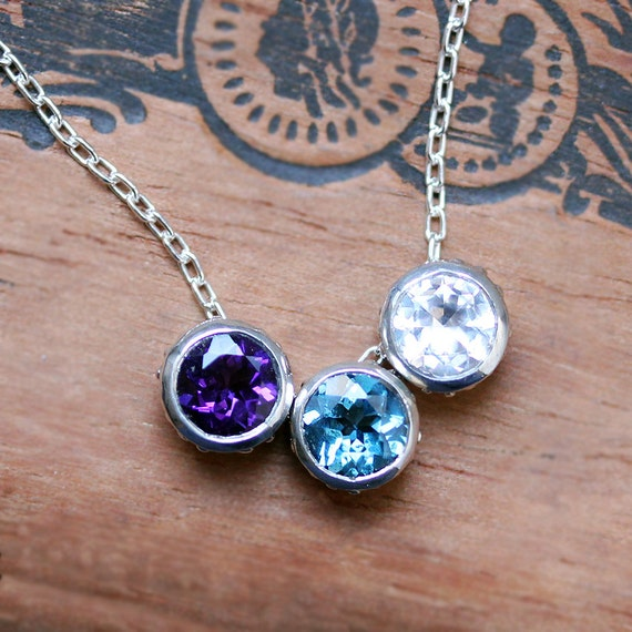Birthstone bezel necklace for mom unique mothers necklace