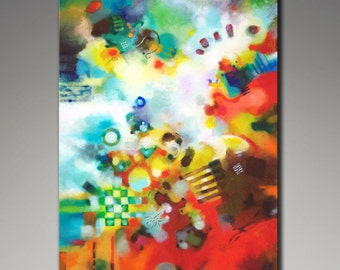 """Fine art print, abstract giclee on stretched canvas, from my abstract painting """"Dissolving Obstacles"""" large wall art - 16x24 - 20x30 - 24x36"""