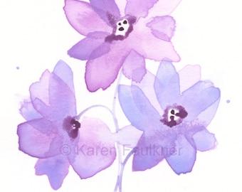 "Lavender watercolor flowers art print: ""Lavender Trio"""