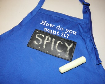 """Working Chalkboard APRON Embroidered 34"""" With USABLE Chalkboard Barbecue Apron - Ready to Ship"""