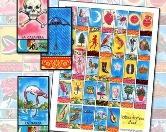 Mexican Loteria and Papel Picado Domino Jewelry Digital Collage Sheet 1x2 inch 25mm x 50mm red yellow blue moon melon devil tree flag