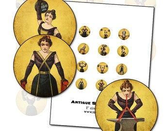 """Antique Circus Strong Women digital collage sheet inchies 1"""" circle 25.4 mm  25mm sideshow performer"""