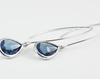 Montana Blue Glass Teardrop Earrings With Silver Tone Frame