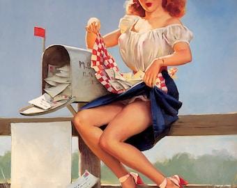 Sale FAN MAIL Pin-Up ELVGREN Made From Original - Pinups Retro Vintage Dress Pin-Up heels Pin-Up Lingerie Up Skirt legs Pinup 20x24 Canvas