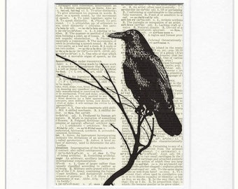 raven artwork dictionary page print