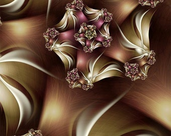 Abstract Art Print in Brown, Pink, and White - Abiding Abstract Fractal Print