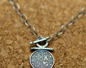 Bhutanese one pice coin toggle necklace recycled sterling silver bronze hand made