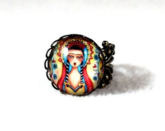Frida Kahlo Ring, Bronze Madonna Mexican Girl Art, Filigree Cocktail Ring Jewelry, Original Art Print, Red Yellow