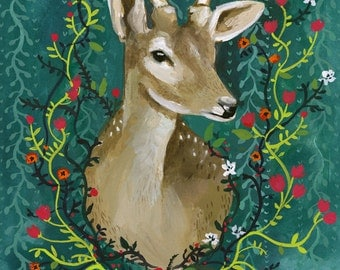 Deer with Flowers - Print