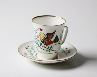 """Vintage bone china cup & saucer set with gold trim 3"""" - birds and flowers folksy"""