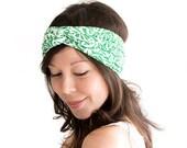 Turban Headband Emerald Green Retro Print