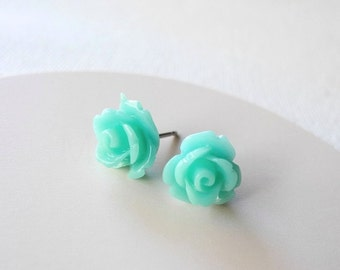 Mint Rose Stud Earrings - Rose Earring Posts - Mint Jewelry - Flower Earring Posts - Hypoallergenic Earring Studs (E081)
