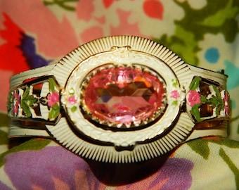 Cuff Bracelet 1960's Costume Jewelry Cuff Bracelet, Pink Rhinestone, Ornate, Clamper Bracelet, Shabby Chic, Valentine Pink, retro 60's