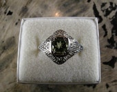 Reserved for Sage-Art Deco Period 18kt White Gold Peridot Ring