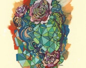 Original -Geometry & Roses- Ink and Acrylic Painting