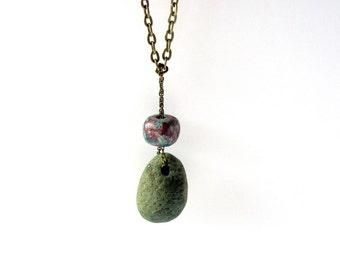 Stone Necklace, Slag Glass, Handmade Greek Mykonos Bead, Eco Friendly, Brass, River Rock Jewelry by Hendywood