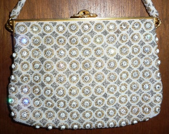 Exquisite 50s Rhinestone Evening Bag - White Silver Gold Glass Beads - Elegant Beaded Wedding Purse - Fancy Formal Bridal Handbag- 1950s 50s