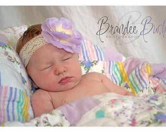 Baby Headband - Baby Lavender Newborn Headband - Baby Girl Lace Headband.... Cream Lace Headband (LL)