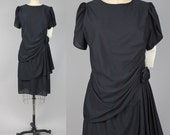 little black dress | vintage tulip hem party dress | draped knee length dress | M