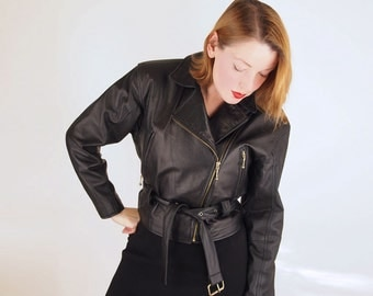 SALE 80s Black Leather Motorcycle Jacket by Ms. Maxima S/M