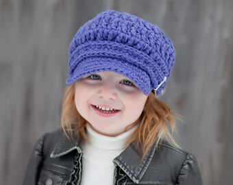 Toddler Girl Newsboy Hat 2T to 4T Toddler Newsboy Cap Toddler Girl Hat Toddler Hat Purple Newsboy Purple Hat Purple Cap Crochet Newsboy