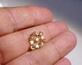 1pc- Matte Gold  plated white crystal star connector-20x11 mm (012-034GP)