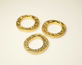 5pcs- Matte Gold Plated Circle links, connectors, charm 15x15mm (016-037GP)