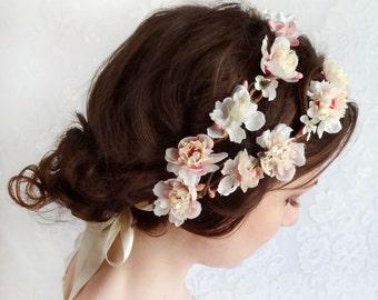 floral crown wedding, flower crown headband, ivory flower crown, pink floral, bridal hair piece, bridal headband, floral hair accessory