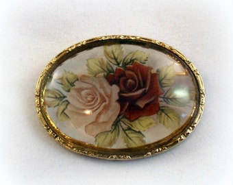 Glass Reverse Etched Roses Pin Brooch 1970s Vintage