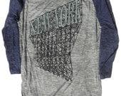 Baseball Shirt, New York Unisex Burnout Grey and Navy