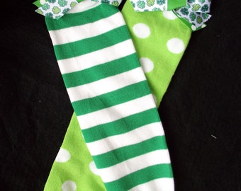Adorable Miss-Matched St. Patrick's Day Leg Warmers with Bows