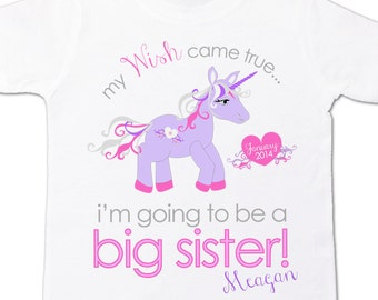 Big sister to be unicorn whimsical i'm going to be a big sister pregnancy announcement Tshirt