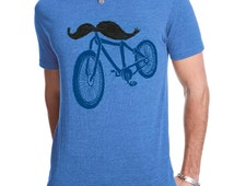 Men's Handlebar Mustache Bike Tee Shirt Funny Moustache Bicycle TShirt Funny Fixie Bike Rider Birthday Gift For Him Available S M L XL XXL